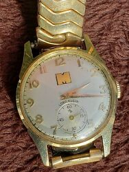 1951 Lord Elgin 14k Gold Vintage Men's Watch With Monsanto M Engraved