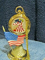 Colorized Painted 2001 Silver American Eagle Set Liberty Pocket Watch And Stand
