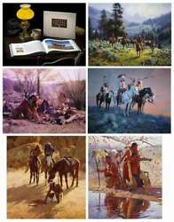 Howard Terpning Cowboy Artists Of America 5 Cvs Prints With Leather Bound Book