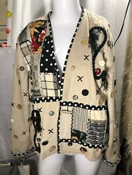 Vintage Crystal Handwoven Womenand039s Wearable Art Jacket Boho Size L