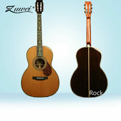 Acoustic Guitar Hardcase Ebony Fretboard Red Spruce Top Real Abalone Fast Ship