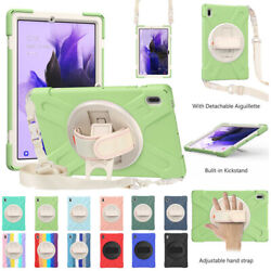For Galaxy Tab S7 Fe 12.4 T730 T736b Heavy Duty Rotating Cover Case W Hand Strap