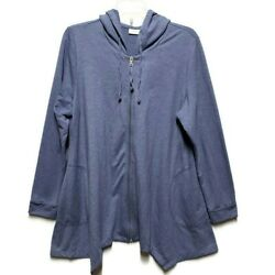 LOGO Lori Goldstein Blue French Terry Zip Front Jacket Hooded Size Large Lounge