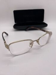 Versace Rx Glasses Gold And Brown 1230-b 1252 52017 135 With Case