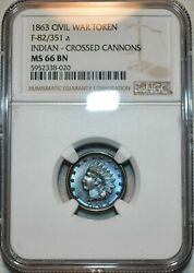 1863 Indian Crossed Cannons Civil War Token Ngc Ms66 Bn Blue And Purple Toned