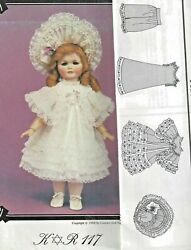 16and20.5antique French-german Kr Doll Dress Lace Ruffles Underwear Hat Pattern