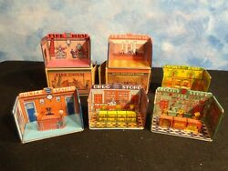 Marx Home Town Tin Litho Buildings-drug Store/grocery/woolworth/police/fire/bank
