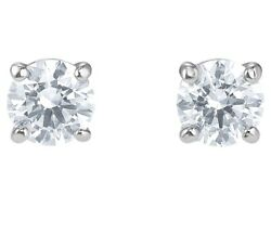 Attract Stud Earrings Round White Rhodium Plated