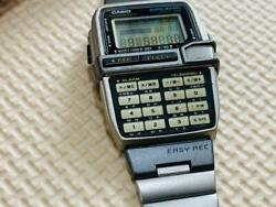 Casio1591 Dbc-v500 Steel Digital Watch Data Bank Easy Rec Stainless Sold As Is