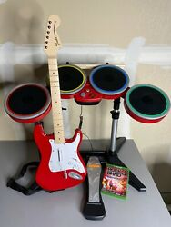 Rock Band 4 Xbox One Series X Red Target Exclusive Drums Guitar Game Tested Rare
