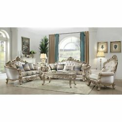 Acme Gorsedd Sofa With 5 Pillows In Cream Fabric And Antique Cream Traditional