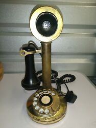 Vintage Brass Candlestick Telephone rotary dial