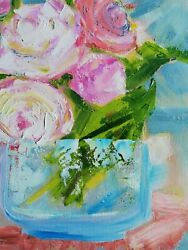 Oil original impressionism modern painting on canvas size 12x12 inches