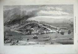 Old Antique Print 1872 View Barrow-in-furness Ships Smoking Chimneys Art 19th