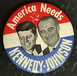 1960 4 America Needs Kennedy-johnson Jugate Campaign Button, Desirable And Mint
