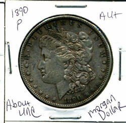 1890 P Au Morgan Dollar 100 Cent About Uncirculated 90 Silver Us 1 Coin 1231