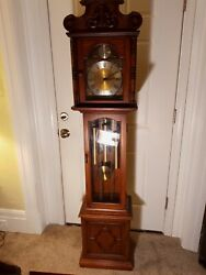 Vintage-ridgeway Tempus Fugit Chain-driven Grandfather Clock 70and039and039 Tall Working