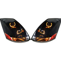 Blackout 2004+ Vn/vnl Projection Headlights With Led Light Bar - Pair