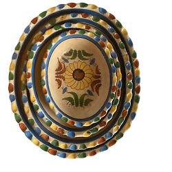 Vintage Mexican Tlaquepaque Nesting Bowls 4 Oval Pottery Pie Crust Flowers