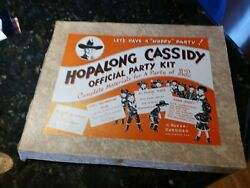 Vintage Hopalong Cassidy Official Party Kit Western Toy Rare With Original Box