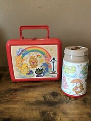 1985 Vintage Aladdin Care Bears Red Plastic Lunchbox + Thermos