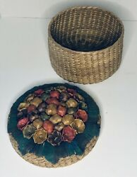 Vintage Woven Basket With Floral and Embroidered Lid