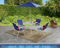 Mainstays Albany Lane 6pc Outdoor Patio Diningset Blue Powder-coated Steel Frame