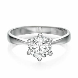 1 Ct Diamond Engagement Ring Round Cut F/vs1 18k White Gold Size Selectable