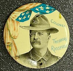 1898 Teddy Roosevelt In Military Uniform 1 3/4 Governor Campaign Button-mint