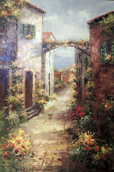 Italian Beach Town Adriatic Sea Village Flowers Lge. Tall Oil Painting Stretched