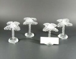 Shannon Crystal Palm Tree Place Card Holders Vintage Set If Four