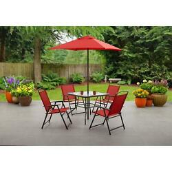 Mainstays Albany Lane 6pc Outdoor Patio Dining Set Red Powder-coated Steel Frame