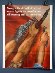 Vintage Wwii Poster Strong In The Strength Of The Lord1942 David Stone Martin