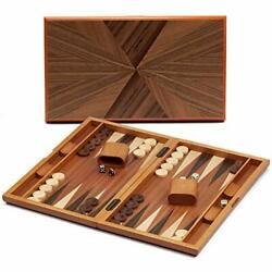 Gse Games And Sports Expert Wood Inlay Backgammon Game Set With Backgammon Pieces
