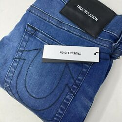 True Religion Menand039s Relaxed Skinny Rocco No Flap Dark Wash Denim Blue Jeans New