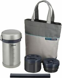 Zojirushi Lunch Box M Size Thermos Stainless Bento Bottle Sl-nc09-st Brand New