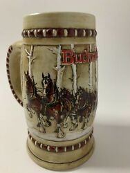 Vintage 1981 Snowy Woodland Budweiser Clydesdale Holiday Beer Stein
