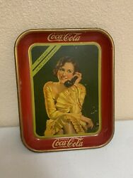 Coca-cola Vintage Tray 1930 Meet Me At The Soda Fountainandnbspadvertising Collectable