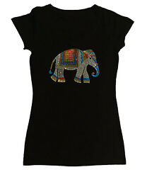 Womens Rhinestone shirt quot; Colorful Indian Elephant quot; in S M L 1X 2X 3X