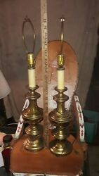 Vintage Leviton Candlesticks Table Lamps Solid Brass Pair 29.5 Tall 10lbs Each