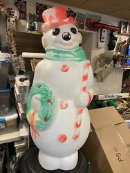 """Vintage Empire Lighted Christmas Snowman Wreath/candy Cane Blow Mold 46"""" W Cord"""