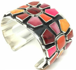Taxco Mexican 925 Sterling Silver Multi Inlay Floral Flower Cuff Bracelet Mexico