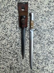 Antique Military Bayonet - Switzerland - With Original Scabbard And Leather Frog