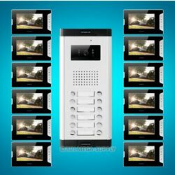 7 Wired Video Door Phone Intercom Kit With 12pcs Monitors For House/flat