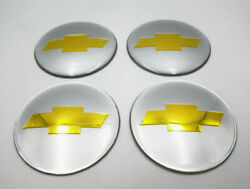 4pc 65mm 2.56 Auto Car Wheel Center Cap Emblem Decal Sticker For Chevy Silvery