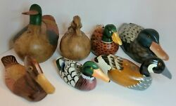Mallard Ducks Hand Carved Collection Pre-owned Lot Of 7 Multi Color And Size