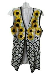 90s Escada Couture Beaded Vest Sunflower Embellished Open Top Black And Wh