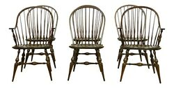 L52781ec Set Of 6 Solid Cherry Loopback Windsor Dining Room Chairs