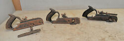 3 Rabbet Plane 2 Stanley 78 With Fence And 1 No 190 Vintage Collectible Tool Lot