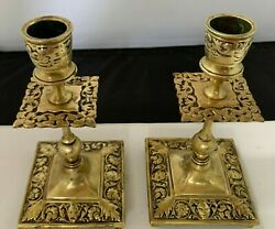 MATCHING ANTIQUE ENGLISH ORNATE CAST BRASS CANDLESTICK HOLDERS